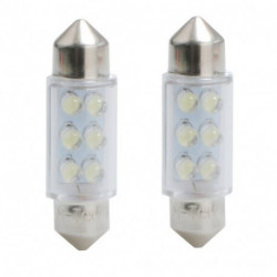 Ampoules navette blanches à LED C5W 0,48w 12 volts 36 mm