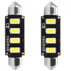 Ampoules navette blanches à LED C5W 2,3w 12 volts canbus 42 mm