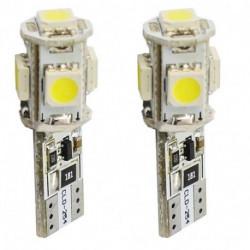 Ampoules blanches à LED T10 W5W 2,2w 12 volts canbus (paire)